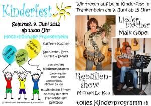 Kinderfest am 9. Juni 2012 ab 15 Uhr in der Hochrhönhalle – tolles Kinderprogramm!