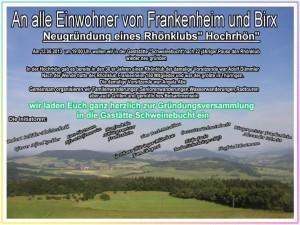 Rhönklub Zweigverein soll in Frankenheim wieder gegründet werden.