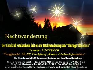 Einladung zur Nachtwanderung des Rhönklubs am 13.09.2014