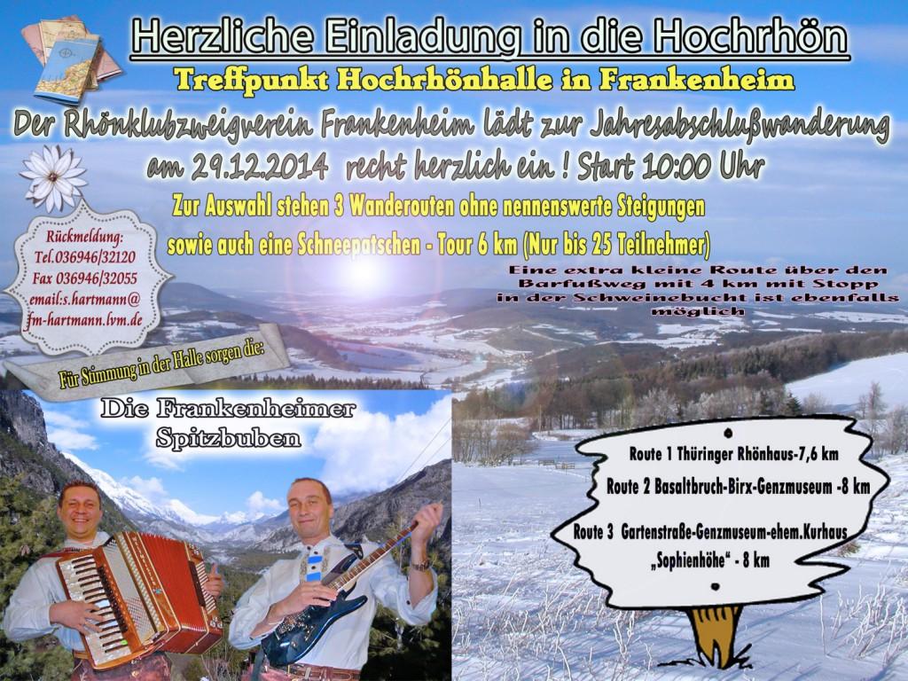 Die Jahresabschlusswanderung des Rhönklubs findet am 29. Dezember in Frankenheim statt