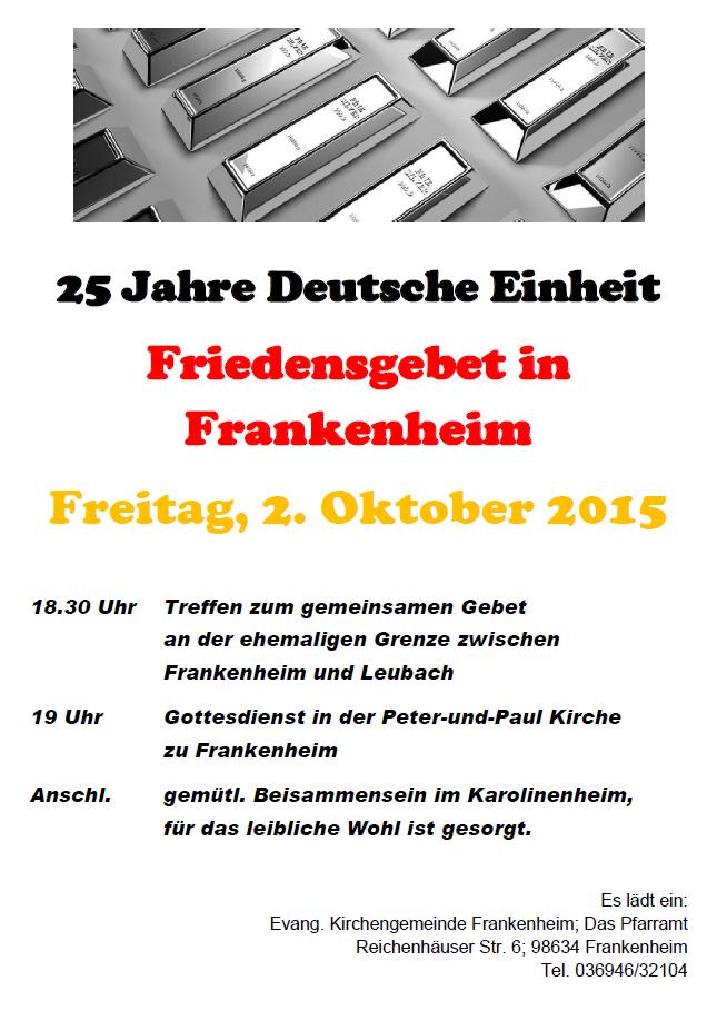 2. Oktober: Friedensgebet am Vorabend zum Tag der Deutschen Einheit