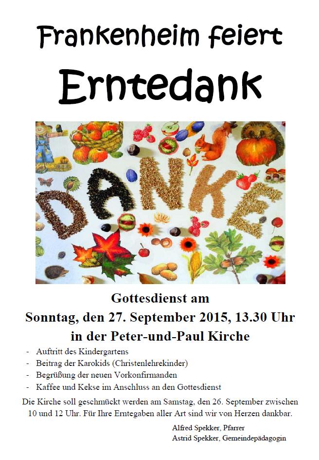 Frankenheim feiert Erntedank am 27. September