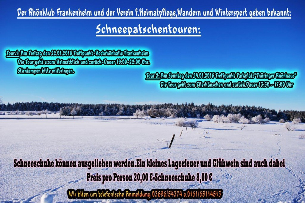 Kurzfristige Anmeldung möglich – Schneepatschentour am 24. Januar 2016