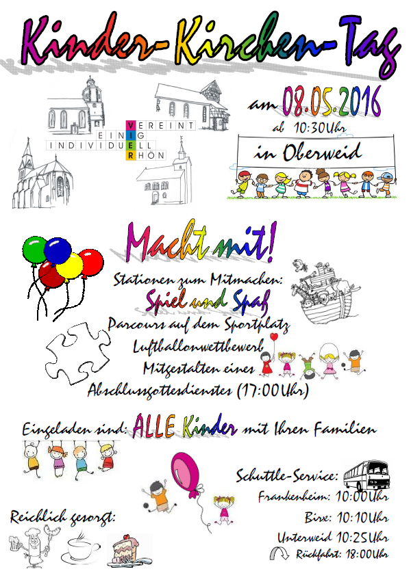 Einladung zum Kinder-Kirchen-Tag am 8. Mai 2016