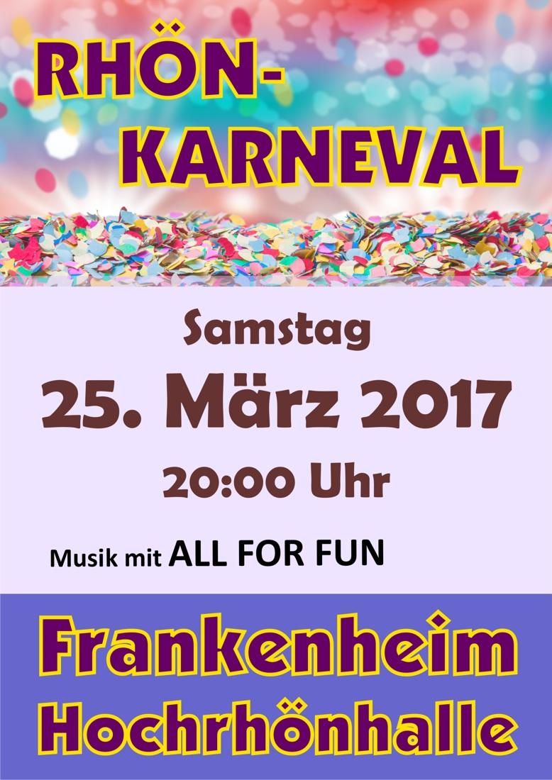 Rhönkarneval am 25. März 2017 – die Party geht weiter …