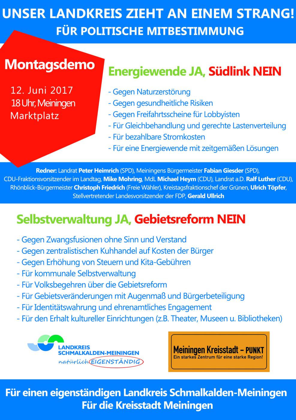 Demo gegen die Gebietsreform am 12. Juni in Meiningen – es fährt ein kostenloser Bus von Frankenheim.