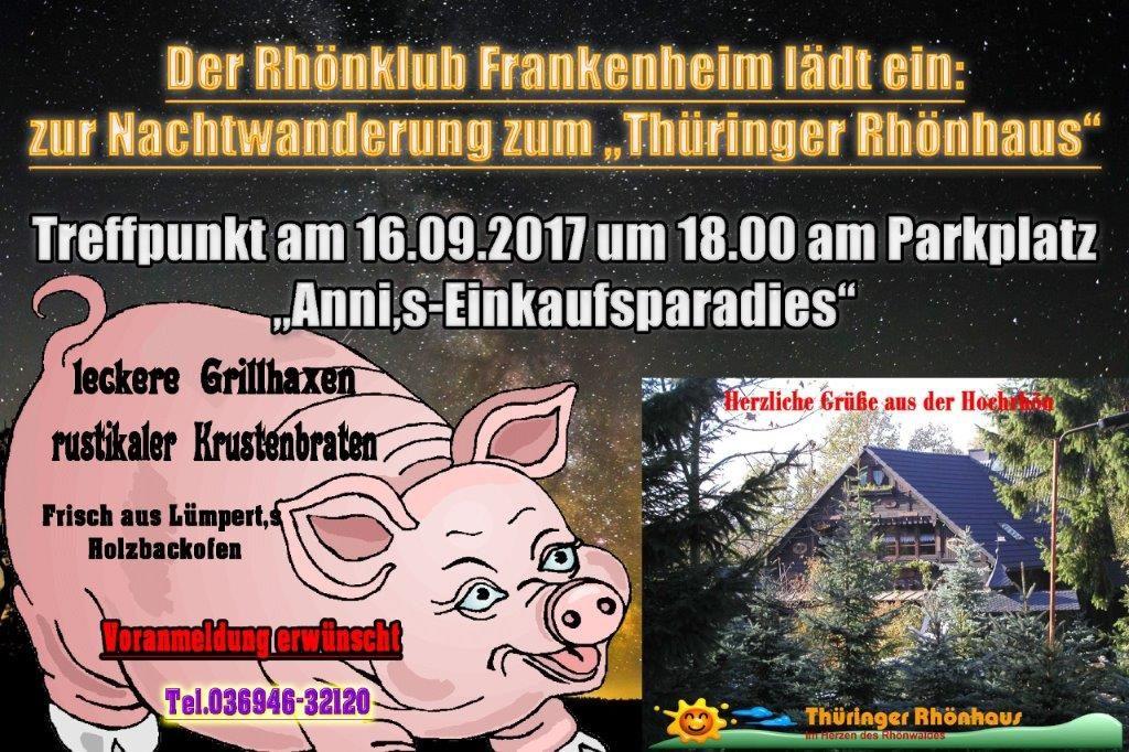 Einladung zur Rhönklub-Nachtwanderung am 16. September 2017