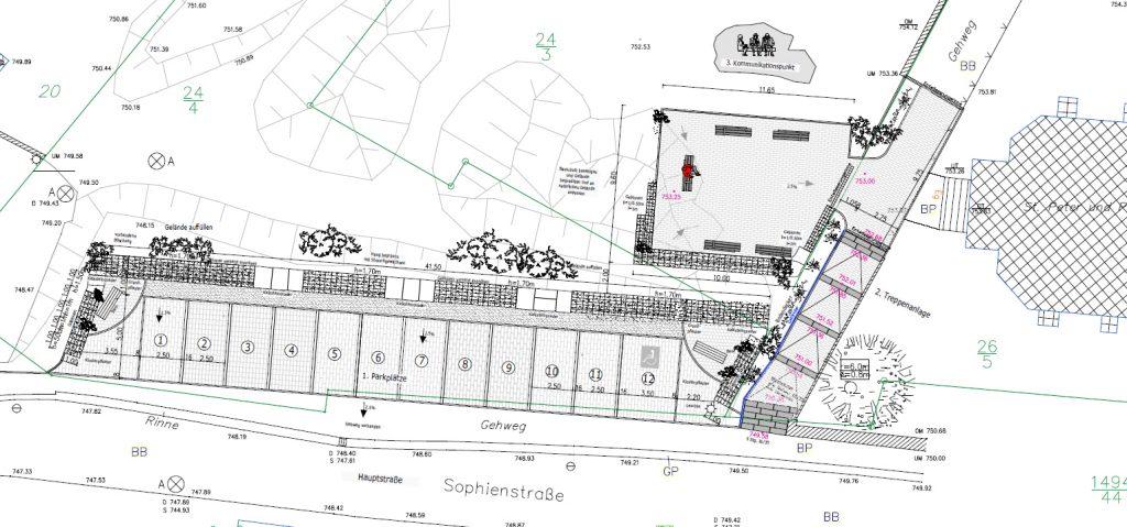 In der Wirtswiese tut sich etwas … Stützmauer, Parkplätze, Treppe und Dorfplatz