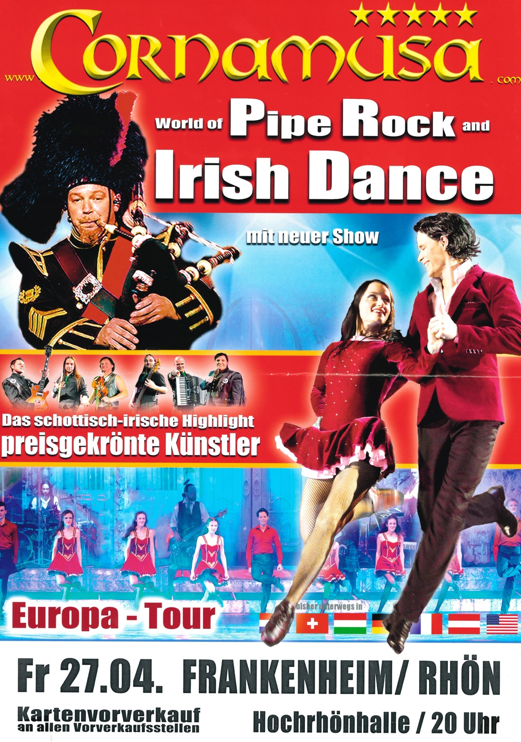 "Cornamusa – ""World of Pipe Rock and Irish Dance"" – Show am 27.04.2018 in Frankenheim 