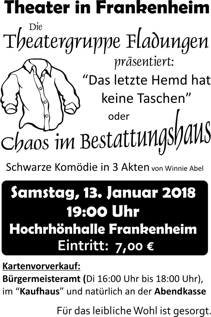 Theater in der Hochrhönhalle am 13. Januar 2018 – es gastiert die Theatergruppe Fladungen