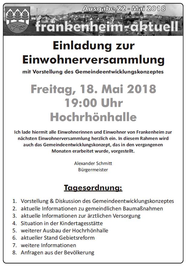 Einladung zur Einwohnerversammlung am 18.05.2018