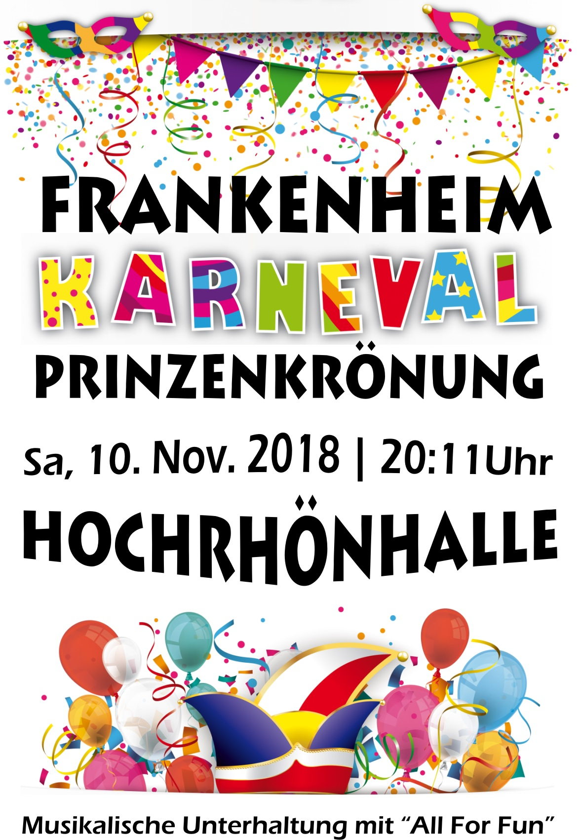 Karnevalsauftakt mit Prinzenkrönung in Frankenheim am 10. November 2018