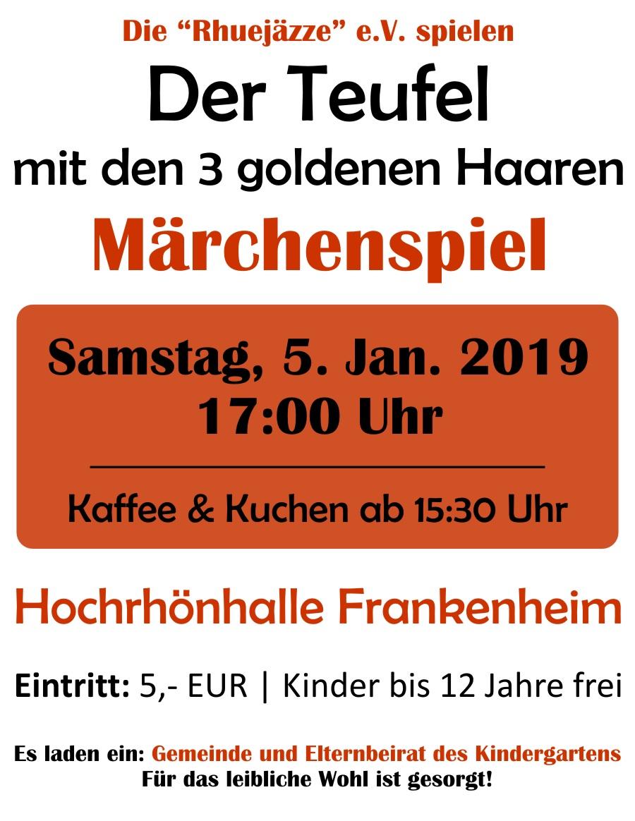 """Märchenspiel """"Der Teufel mit den drei goldenen Haaren"""" am 05.01.2019 in der Hochrhönhalle"""