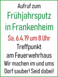 Frühjahrsputz in Frankenheim am 6. April 2019