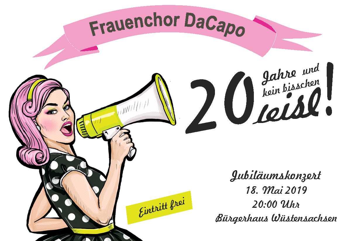 Frauenchor DaCapo Jubiläumskonzert am 18.05.2019 in Wüstensachsen