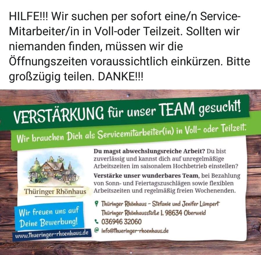 Das Team vom Thüringer Rhönhaus sucht Verstärkung