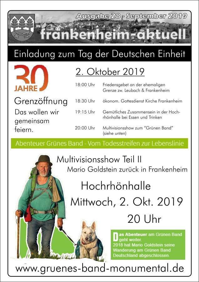 """Tag der Deutschen Einheit – Multivisionsshow zum """"Grünen Band"""""""