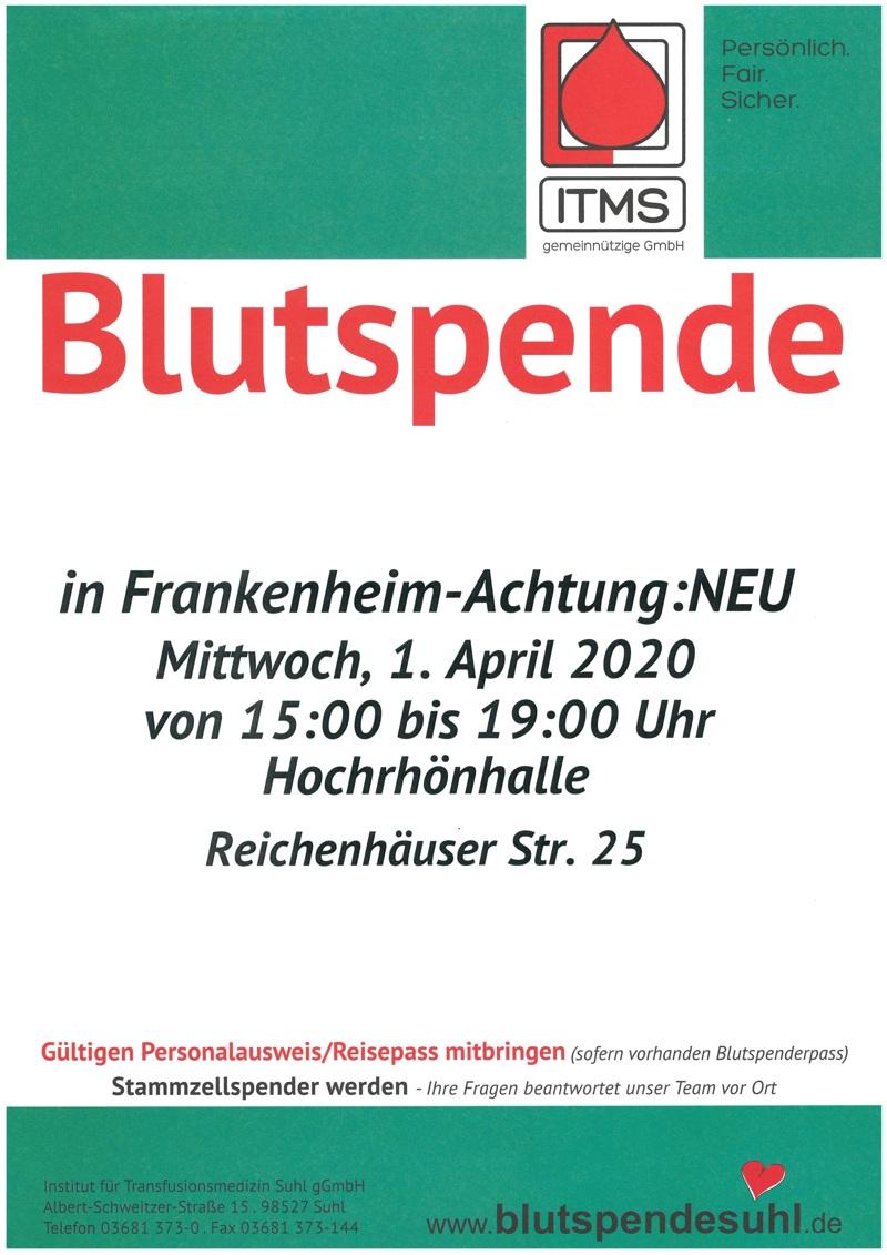 Blutspende am 01.04.2020 in der Hochrhönhalle Frankenheim – wichtig trotz Corona!