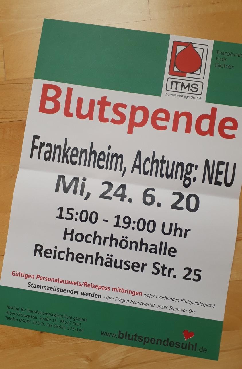 Blutspende am 24.06.2020 – Hochrhönhalle Frankenheim