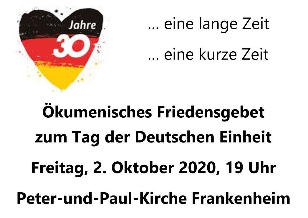 Friedensgebet zum Tag der Deutschen Einheit