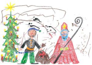 Frankenheimer Kinder malen Bilder für den Nikolaus