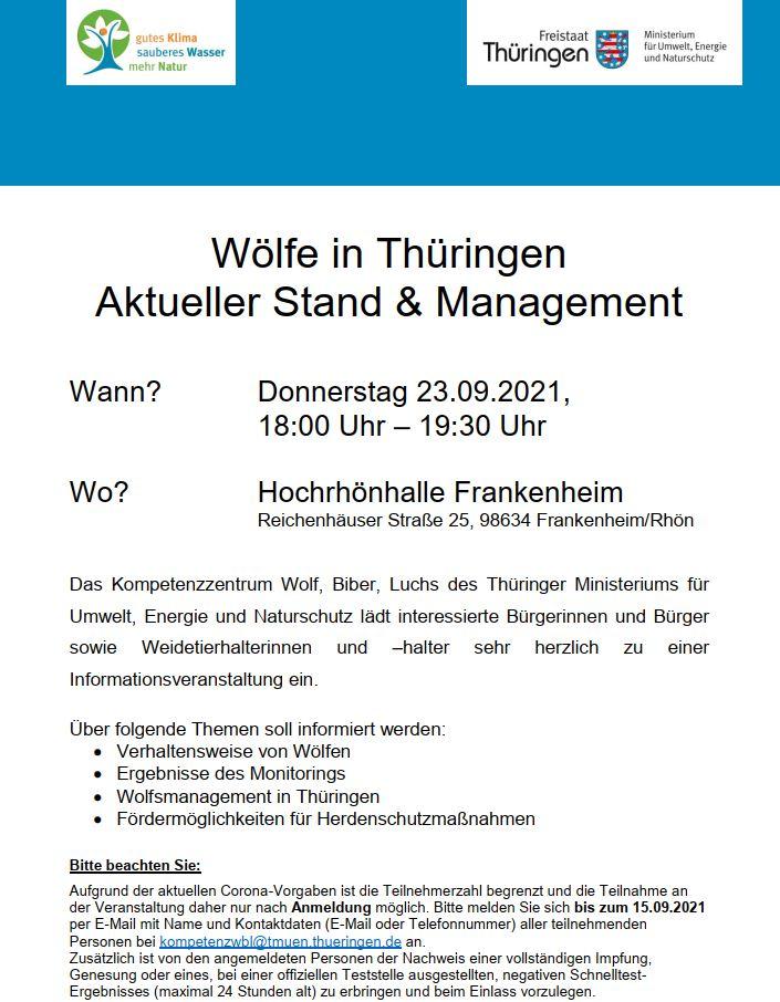 Infoveranstaltung am 23.09.21: Wölfe in Thüringen – Aktueller Stand & Management